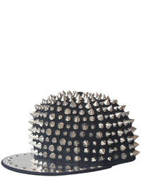 ChicNova Punk Style Black Canvas Cap With Spikes And Metal Brim