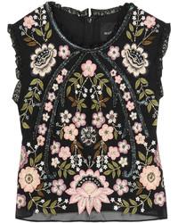 Needle & Thread Cropped Embellished Chiffon Top Black