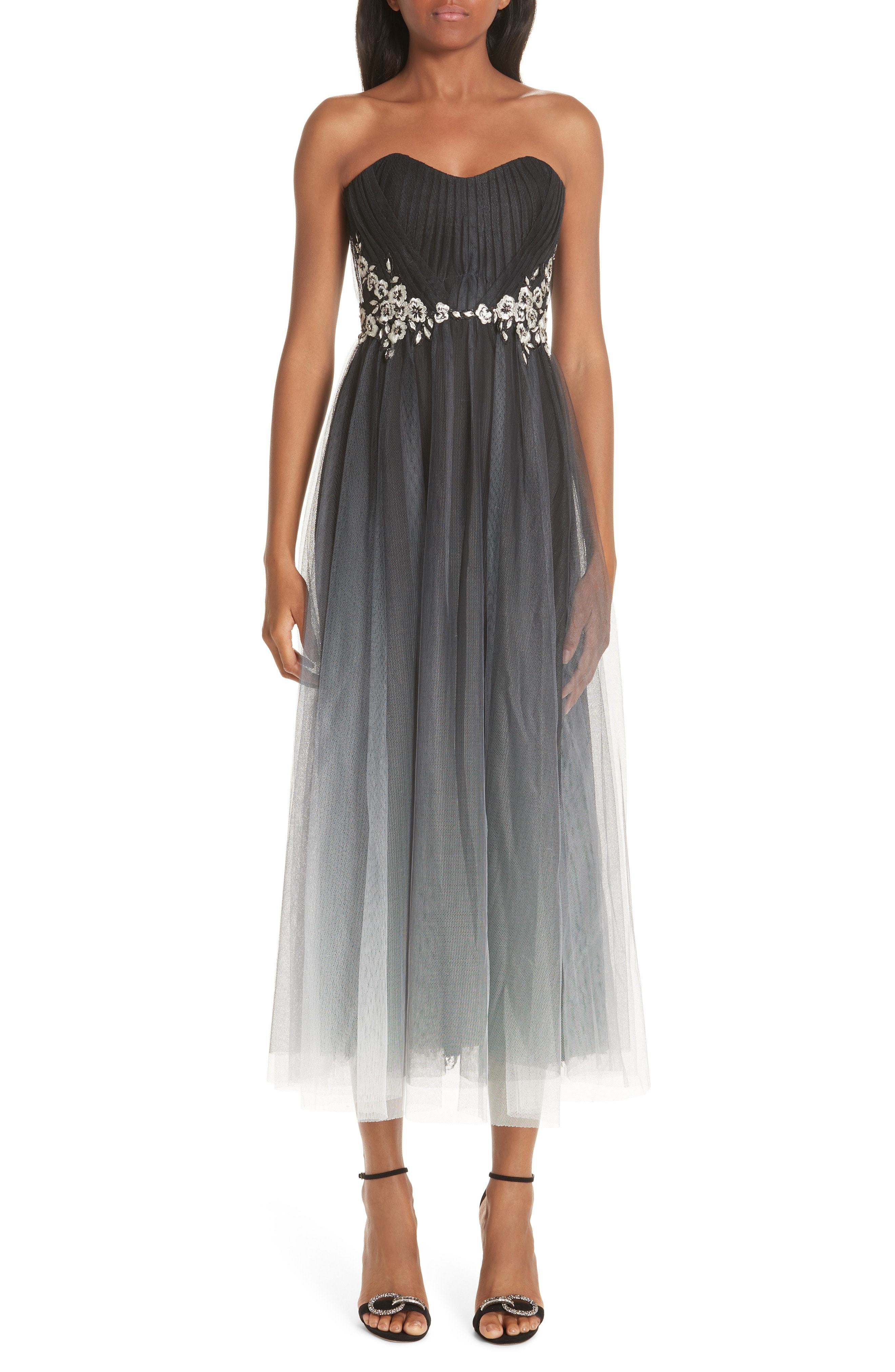 c17be085 ... Embellished Chiffon Evening Dresses Marchesa Notte Strapless Ombre Tulle  Tea Length Dress