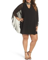 Xscape Evenings Plus Size Xscape Embellished Collar Chiffon Overlay Shift Dress