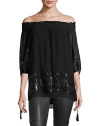 Max Studio Sequined Embellished Tunic Black