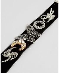 Asos Statet Wide Embellished Velvet Choker Necklace