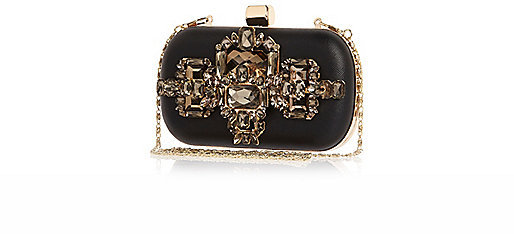 River Island Black Embellished Box Clutch Bag | Where to buy & how ...