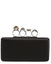 Embellished knuckle clasp box clutch black medium 1248571