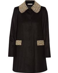 Alice olivia iris embellished wool and cashmere blend coat black medium 845894