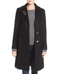Embellished boucle reefer coat medium 1055012