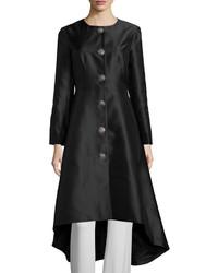 Chetta B Shantung Coat Wembellished Buttons Black