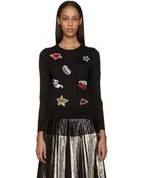 Marc Jacobs Black Wool Embellished Sweater
