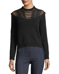 Valentino Embellished Lace Yoke Virgin Wool Sweater