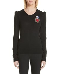 Dolce & Gabbana Sacred Heart Wool Silk Blend Sweater