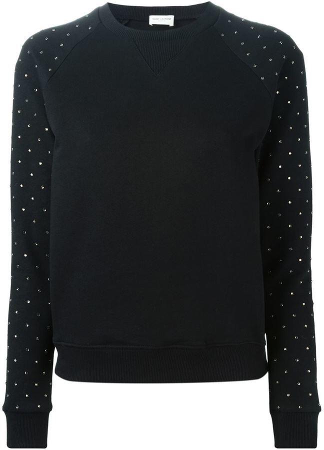 6e06794a4fb Crystal Embellished Sweater. Black Embellished Crew-neck Sweater by Saint  Laurent