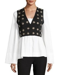 Elizabeth and James Leola Embellished Cross Back Sleeveless Crop Top