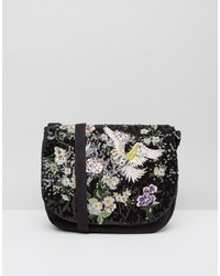 Boohoo Bird And Floral Embellished Saddle Bag