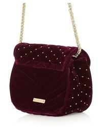 Topshop Embellished Velvet Crossbody Bag Black