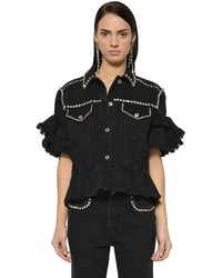 MSGM Embellished Denim Jacket With Ruffles