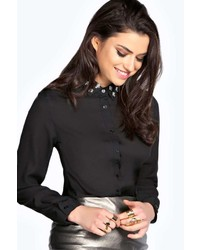 Boohoo Zoe Beaded Collar Shirt