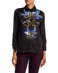 Cynthia Rowley Embellished Button Front Shirt