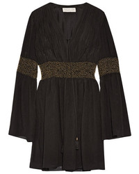 Laurel embellished crinkled silk chiffon mini dress black medium 1044763