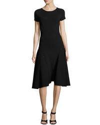 Zac Posen Bead Embellished Short Sleeve Fit Flare Dress