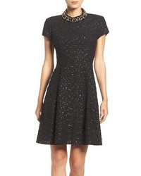 Vince Camuto Embellished Boucle Fit Flare Dress