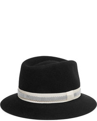 Lanvin Embellished Rabbit Felt Fedora Black