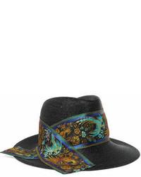Philip Treacy Raiders Embellished Silk Jacquard Trimmed Straw Trilby Black