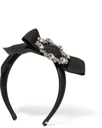 Dolce & Gabbana Swarovski Crystal Embellished Grosgrain And Satin Headband Black