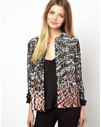 Asos Jacket In Monochrome With Embellished Hem