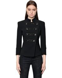 Embellished military stretch cady jacket medium 4418402