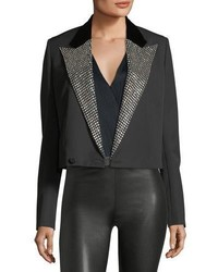 Iconic le smoking spencer fitted jacket with embellished lapel medium 5053783