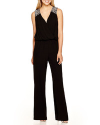 City triangles sleeveless embellished shoulder jumpsuit medium 337710