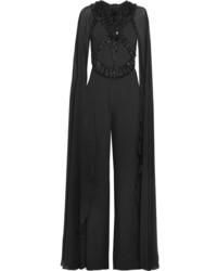 Embellished crepe and chiffon jumpsuit black medium 5173134