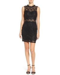 Black Embellished Lace Bodycon Dress