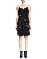Givenchy Sleeveless Embellished Cage Sheath Dress Black