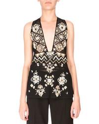 Altuzarra Sleeveless Embellished Lace Tunic Black