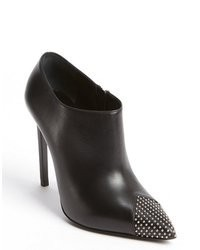 Saint Laurent Black Leather Point Toe Studded Detail Heel Boots