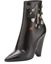 Saint Laurent Button Embellished Leather Bootie