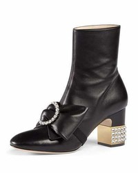 Gucci Candy Embellished Mid Heel Bootie Black