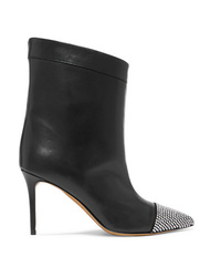 Alexandre Vauthier Cha Cha Crystal Embellished Leather Ankle Boots