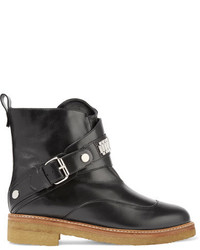 Lanvin Chain Embellished Leather Ankle Boots Black
