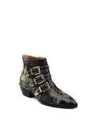 Chloé Chloe Suzanna Studded Leather Ankle Boots Black