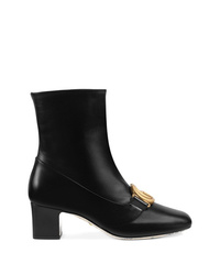 Gucci Double G Leather Ankle Boots