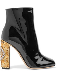 Dolce & Gabbana Embellished Patent Leather Ankle Boots Black