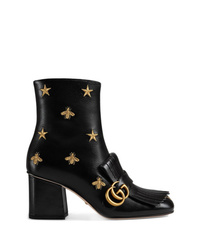 Gucci Embroidered Leather Mid Heel Ankle Boot