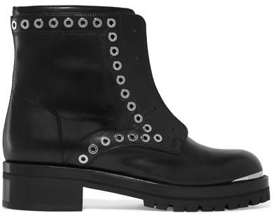 Alexander McQueen Eyelet Embellished Leather Ankle Boots Black