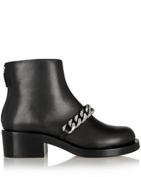 Givenchy Chain Embellished Glossed Leather Ankle Boots Black