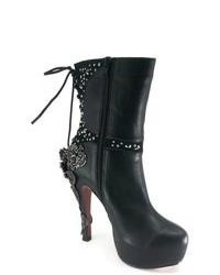 Hades Mcqueen Black Leather Lace Back Ankle Boots