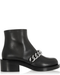 Laura chain trimmed leather ankle boots black medium 209975