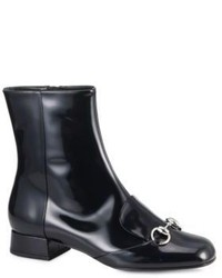 Gucci Lillian Horsebit Patent Leather Ankle Boots