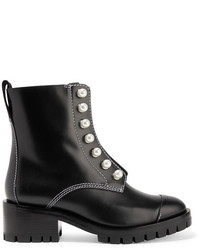 3.1 Phillip Lim Lug Sole Zipper Embellished Leather Ankle Boots Black